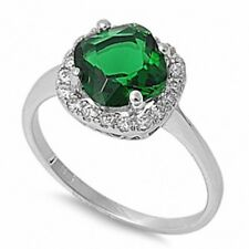 Halo Solitaire Wedding Engagement Ring Sterling Silver 2CT Emerald Russian CZ