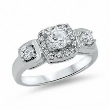 3 Stone Halo Wedding Engagement Ring 925 Sterling Silver 2.80CT Russian CZ