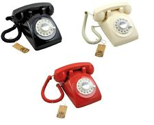 Retro Style Telephone 1970s Vintage Classic Corded Phone Rotary Dial Bell Ringer