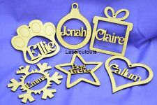 Wooden Shape Names, MDF 100mm, Personalised, Christmas Tree Decoration/Bauble