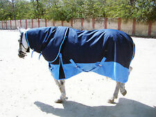 HEAVYWEIGHT 600 DENIER 350G FILL TURNOUT HORSE RUG NAVY/ BABY BLUE WITH NECK !!!