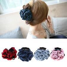 Vintage Fabric Rose Flower Large Hair Clamp Claw Jaw Accessories Gift 4 Colors