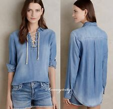NWT ANTHROPOLOGIE Lace-Front Chambray Top by Cloth & Stone sz S 5 Star Rev. RARE
