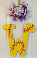 Handpainted Door Hanger Letter  Initial Baseball or Softball