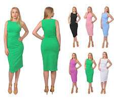 BODYCON WIGGLE PENCIL DRESS  CASUAL EVENING SLEEVELESS SLIM FIT MIDI DRESSES