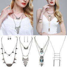 Boho Punk Retro Tassel Turquoise Long Chain Pendant Necklace/Jewelry Set Earring