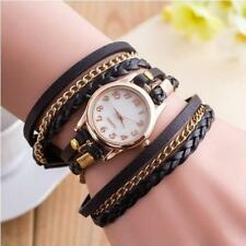 Vintage Weave Wrap Leather Chain Bracelet Wrist Watch for Ladies