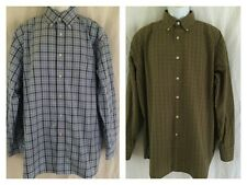 DANIEL CREMIEUX Mens Green Yellow Blue Brown Plaid Button Front l/s SHIRT Sz XL
