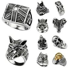 Men's 316L Stainless Steel Pyramid Skull Animal Punk Gothic Finger Ring Jewelry