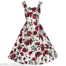 PRETTY KITTY VINTAGE IVORY ROSE FLORAL PROM ROCKABILLY COCKTAIL SWING DRESS 8-18