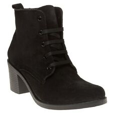 New Womens SOLE Black Maura Suede Boots Ankle Lace Up