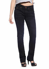 College Girls Women Slimming Jeans Dark Denim Trousers Straight Leg Pants 28-31""