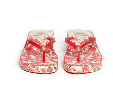Women Tory Burch WEDGE flip flops beach sandals slippers Wedge red flower NEW