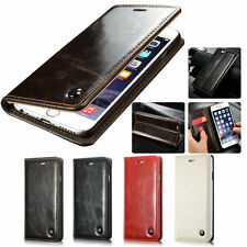 Genuine Real Leather Magnet Stand Flip Card Wallet Case Cover for iPhone 6/6S