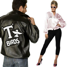 Unisex Couples 1950s Fancy Dress - Women Mens Grease Pink Ladies + T-Bird Jacket