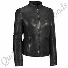 FEMALE LADIES WOMAN PREMIUM SHEEP LEATHER BIKER JACKET PANELED STYLE GOLDEN ZIP