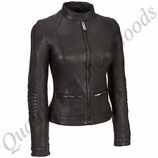 FEMALE LADIES WOMAN PREMIUM SHEEP LEATHER BIKER JACKET PADDED QUILTED STICHING
