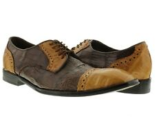mens brown cognac dolce pelle real crocodile gator skin dress shoes wing tip
