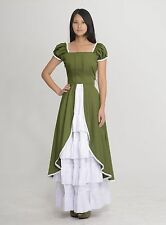 Green White Short Sleeves Cotton Maid Dress Set Classic Lolita Style Costume