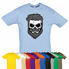 HIPSTER Skull beard tee Rock biker top t-shirt Many size Gift GOTH PUNK color