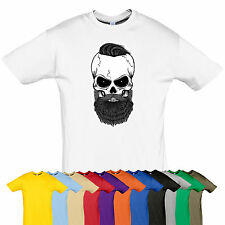 Skull beard tee Rock biker top t-shirt Many size Gift MENTHOLY GOTH PUNK color