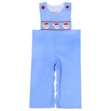 Boys Smocked Santa Faces Light Blue Boys Overalls NWT Babeeni Infant Toddler