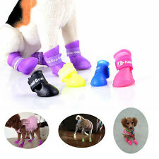 4 pcs Candy Color Pet Dog Puppy Rain Boots Anti-slip Waterproof Dog Paws Booties