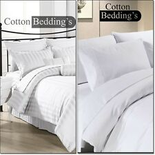 600 800 1000 TC 100% Egyptian Cotton US Scala Solid/Stripe Fitted/Flat/Duvet Set