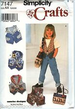 Simplicity 7147 Vest Purse Bag Tote Girls Pattern Sunrise Designs UNCUT FF NEW