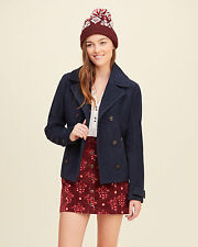 NWT Hollister by Abercrombie&Fitch Wool Blend Double-breasted Jacket Navy XS