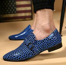 Men's Casual Pointed Toe Slip On Loafers Leopard Party Buckle Shoes oxford