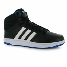 Adidas Hoops Mid Leather Trainers Mens Black/White/Blue Casual Sneakers Shoes