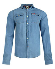 Lee Cooper Slim Fit Denim Shirt New Mens Western Mid Light Wash Blue Jean Shirts
