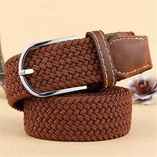 Mens Brown Leather Elastic Braided Belt Stretch Pin Buckle Casual Golf Belt