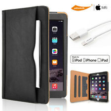 Premium Flip Leather Case Cover Stand For Apple iPad Mini 1 2 3 Sync Data Cable