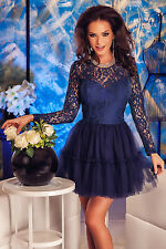 sexy women club cocktail party Navy Lace Tulle Babydoll Skater Dress vestidos
