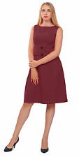 BURGUNDY WOMENS VINTAGE 1950S 1960S DRESS SLEEVELESS WORK OFFICE A LINE DRESSES