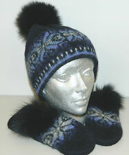 BLUE 100% WOOL 100% COTTON STRIP HAT MITTENS REMOVABLE BLACK FOX FUR POMPON