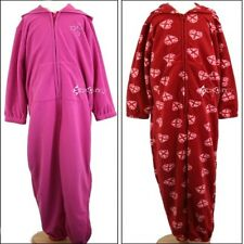 Ladies Girls All in One Hooded Fleece Pyjama Sleepsuit Onesee Size 8-22 & 7-13y