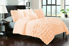 All Size New Waterfall Half Ruffle Duvet Cover Set Peach 1000TC Egyptian cotton