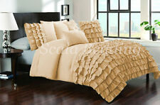 All Size New Waterfall Half Ruffle Duvet Cover Set Taupe 1000TC Egyptian cotton