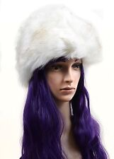 Super Furry Vegan Black or Ivory Vintage Style Pillbox Winter Hat