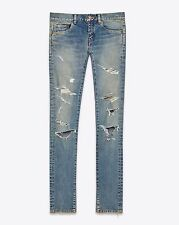 SAINT LAURENT PARIS 890$ Authentic New Skinny Blue Distressed Trash Denim Jeans