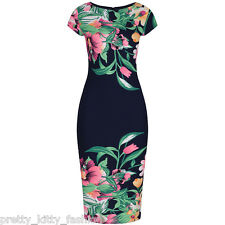 PRETTY KITTY 40s NAVY BLUE NEON FLORAL WIGGLE PENCIL VINTAGE COCKTAIL DRESS 8-18