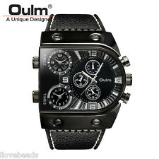 OULM Men Big Dial Watch Multiple Time Zone Military Leather Band Wristwatch