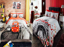 World Cities Theme Paris Eiffel Tower /London Bus Duvet/Quilt Covers Bedding Set
