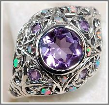 1CT Natural Amethyst & Opal 925 Solid Genuine Edwardian Style Filigree Ring Sz 7