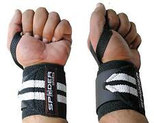 Spider Sports Power Weight Lifting Wrist Wraps Supports Gym Training Fist Straps