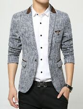 Stylish Mens Cotton Flax One Button Suit Jacket Business Casual Blazer Coat Tops