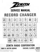 Zenith turntable record changers service manual RC  / Z